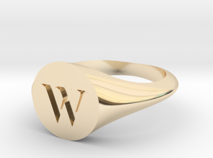 Letter W - Signet Ring Size 6 3d printed