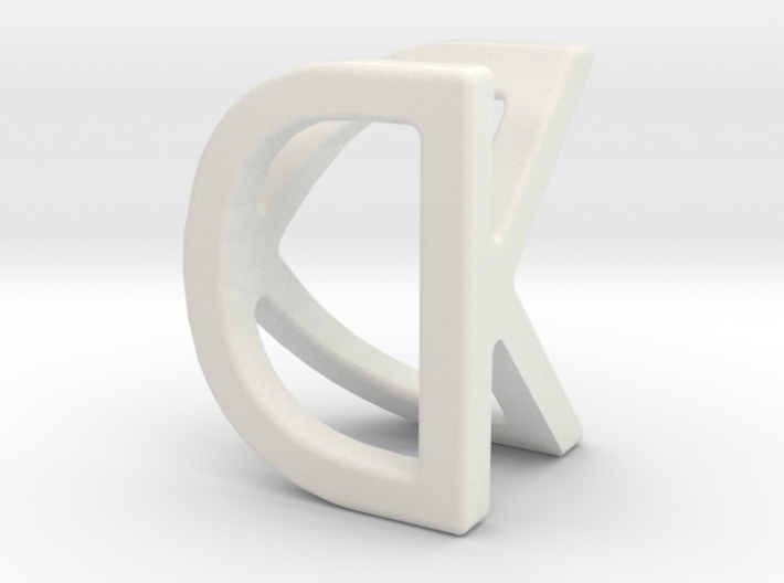 Two way letter pendant - DK KD 3d printed