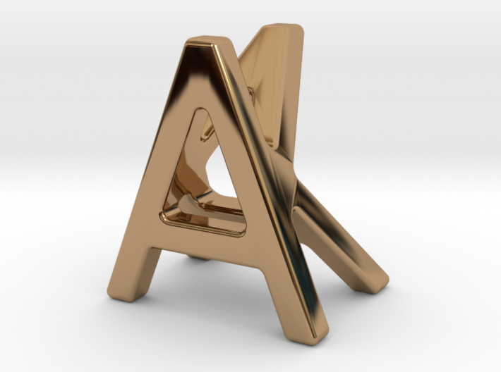 AK KA - Two way letter pendant 3d printed