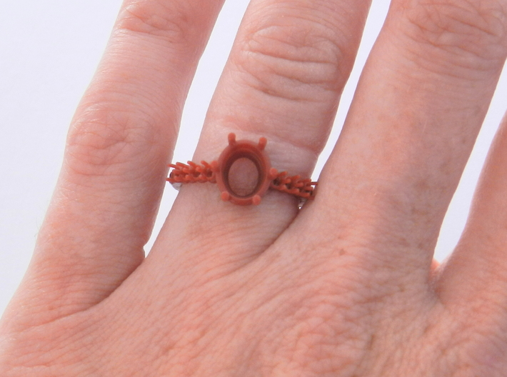 Oval Set Engagement Ring 3d printed