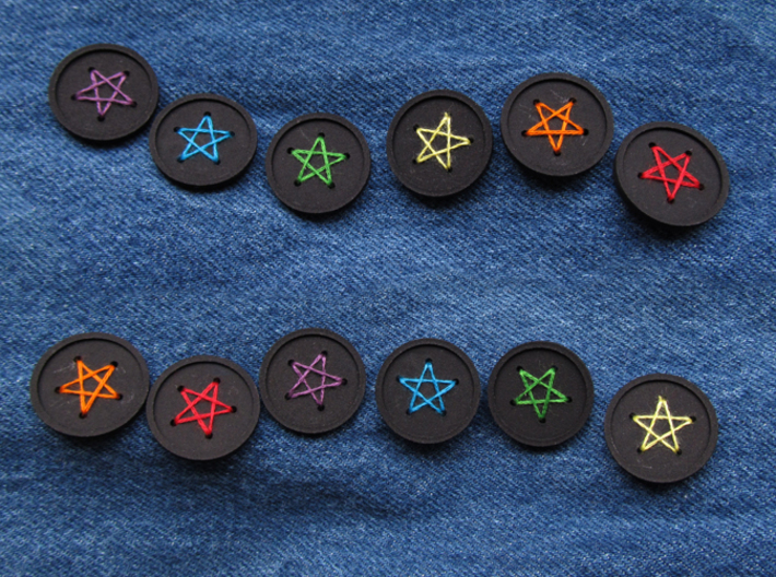 """1"""" five-holed buttons (dozen) 3d printed printed in black S+F"""