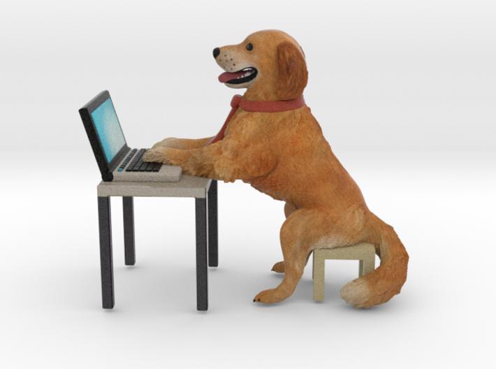Golden Retriever stuck with Work Laptop 3d printed
