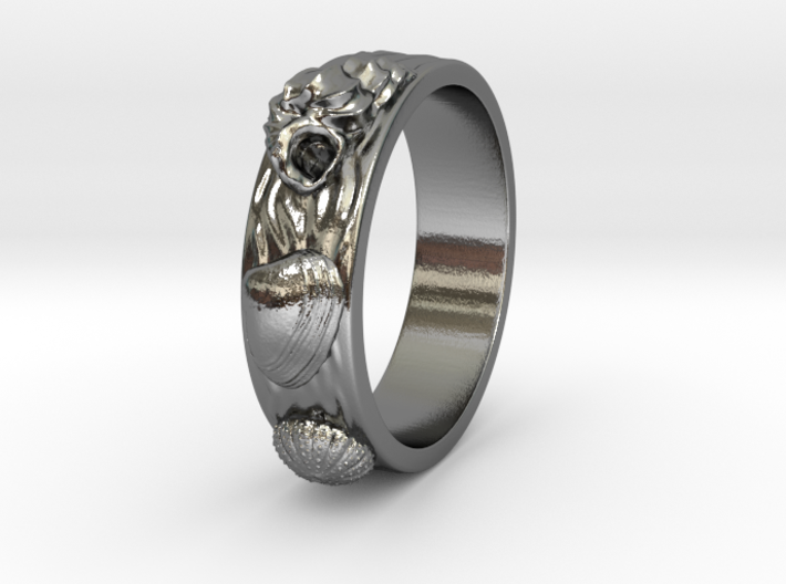 Sea Shell Ring 1 - US-Size 3 1/2 (14.45 mm) 3d printed
