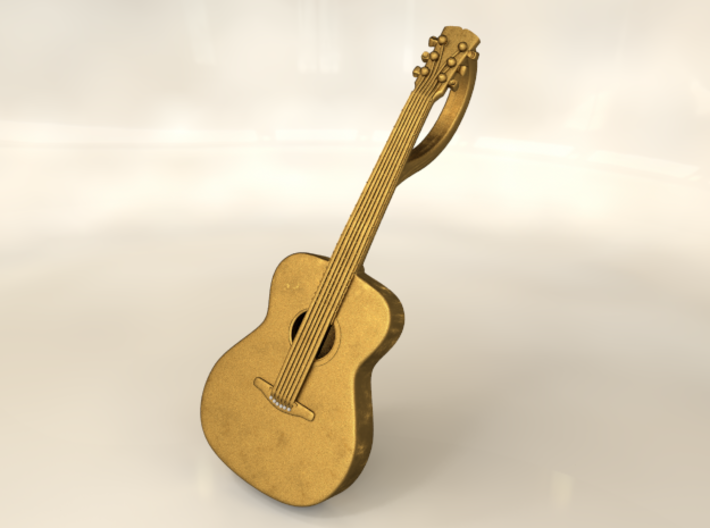 Acoustic Guitar Keychain 3d printed