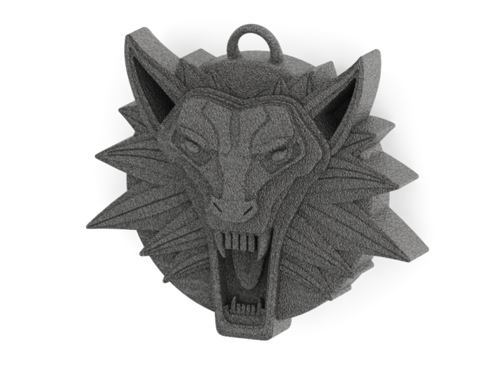 Two Sided Wolf Head Medallion Pendant 3d printed Cast Stainless Steel Front