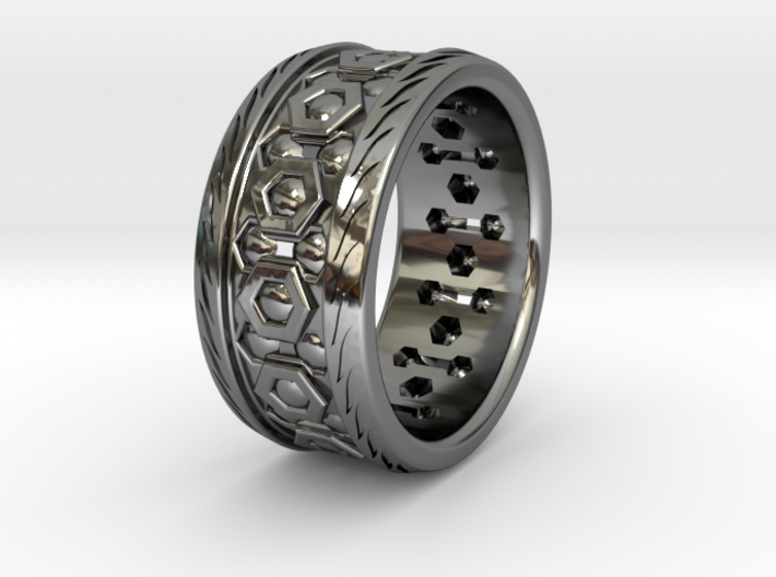 LATTICE RING WITH DIAMONDS SIZE 10.5 3d printed