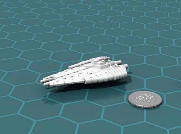 Tusokk Hammer class Battleship 3d printed Render of the model, with a virtual quarter for scale.