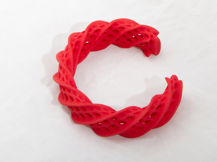 Twist Cuff (Size L) 3d printed Printed in Red Strong & Flexible Polished Plastic