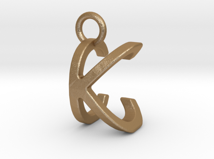 Two way letter pendant - CK KC 3d printed