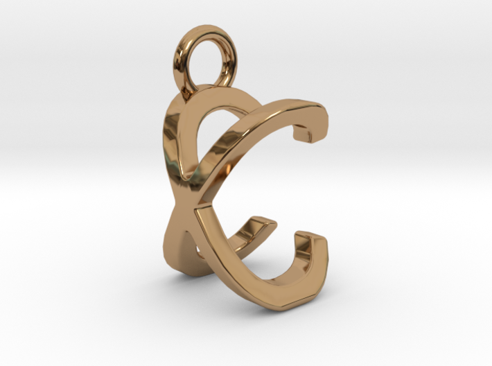 Two way letter pendant - CX XC 3d printed