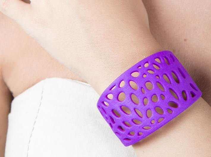 Cells Cuff One Layer (Size M) 3d printed Printed in Purple Strong & Flexible Polished Plastic
