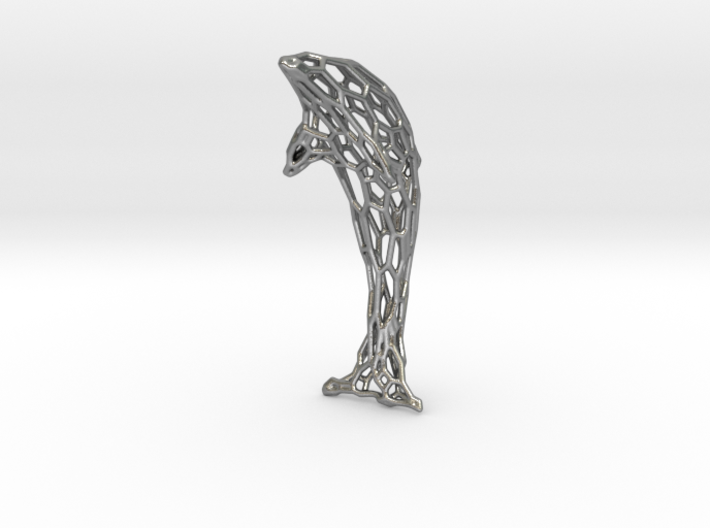 Shapeways-Silver-Dolphin-Curved-MM1 3d printed