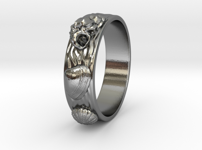 Sea Shell Ring 1 - US-Size 9 1/2 (19.41 mm) 3d printed