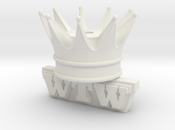 Shoelace Crown W Text 3d printed