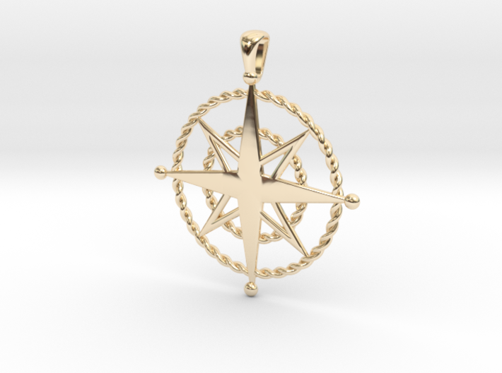 Compass Rose Pendant 3d printed