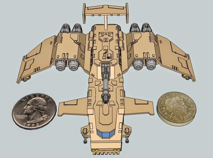 6mm ThunderSquak Transporter Dropship 3d printed This is the troop version, included for purposes of showing the vehicle's dimensions.