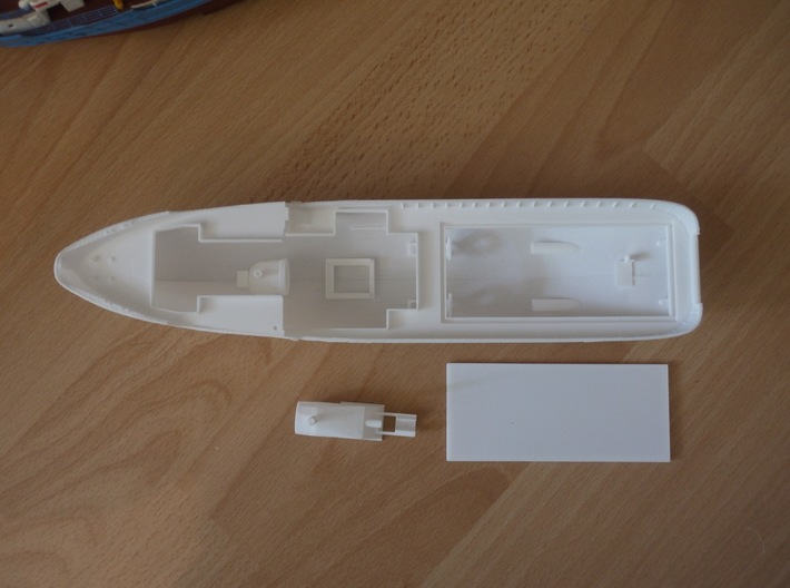 MV Anticosti Hull, Decks and GillJet (RC, 1:200) 3d printed parts of the printed set (top view)