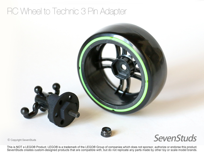 RC Wheel to Technic 3 Pin Adapter - Heavy Duty 3d printed