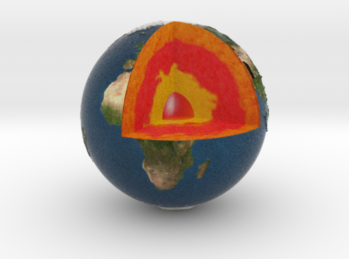 First part of planet earth sectioned quarter 3d printed