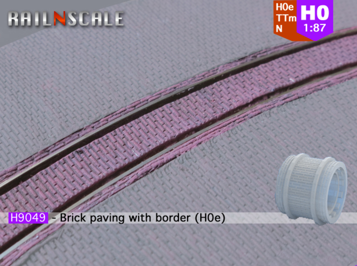 Brick paving with border (H0e) 3d printed