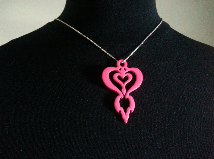Downloadable,Your heart in my heart 3d printed This pendant is painted by me and the color may vary if you order the pink color.