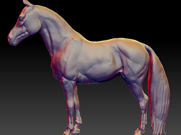 Horse 3d printed Sculpted with Zbrush.