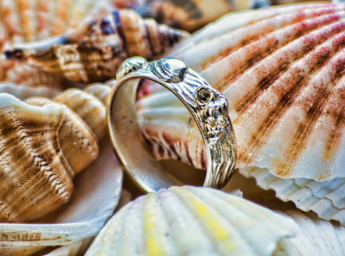 Sea Shell Ring 1 - US-Size 11 (20.68 mm) 3d printed Seashell Ring in polished silver (shown: size 10)
