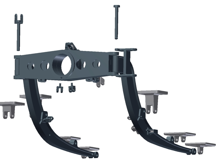 1:6 Scale HUEY - Starboard Side Support Arms 3d printed