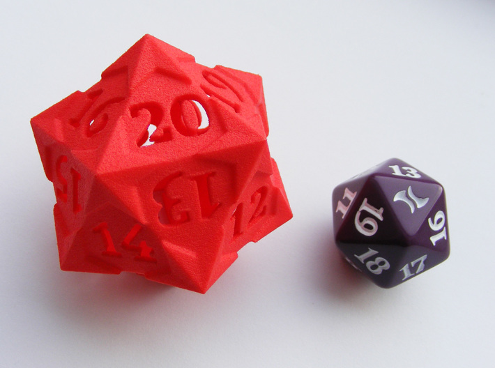 'Starry' D20 Spindown LARGE 3d printed Size comparison with a regular spindown d20