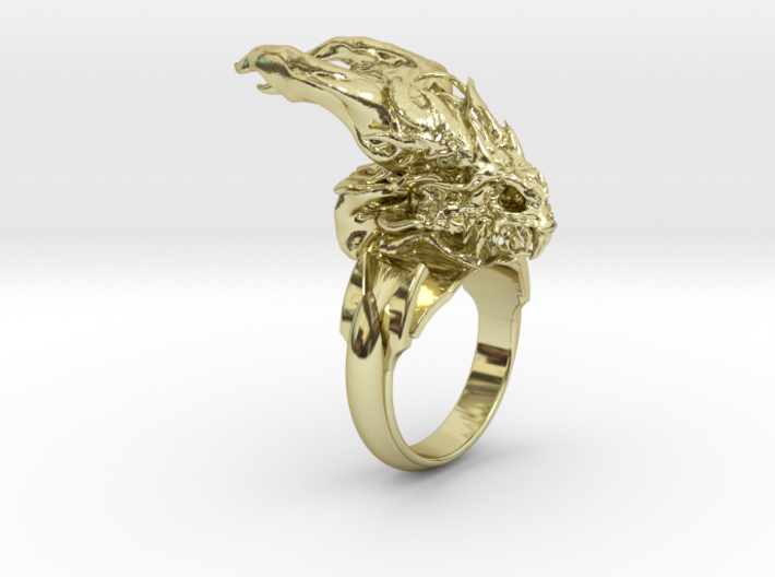 Dragon Skull Ring Deluxe size 12.5 3d printed