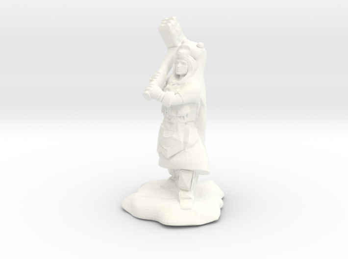Dwarf Shaman with Bear Cloak and Warhammer 3d printed