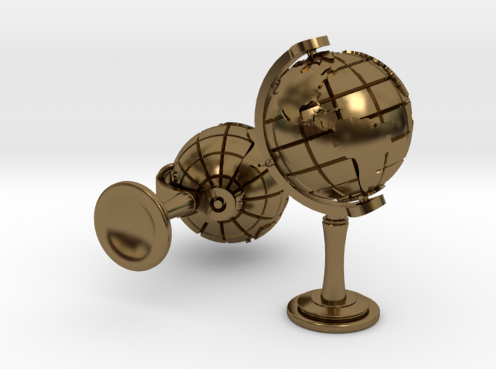 World Cufflinks 3d printed