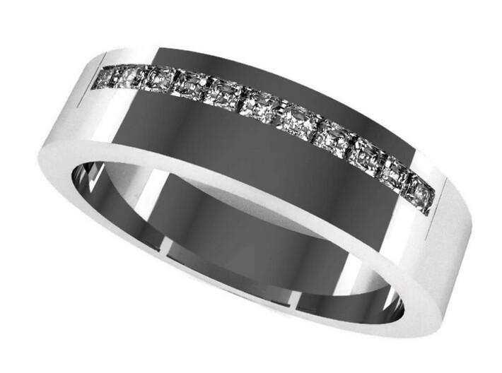 Man's Diamond Band M-009 3d printed
