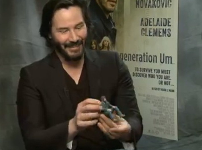 An Itty Bitty Sad Keanu 3d printed Note: the one he has here is the bigger version ($45)