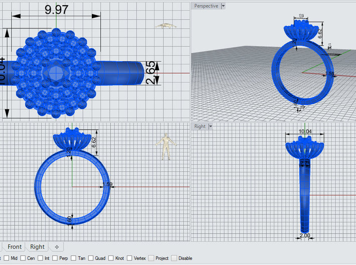 Double Halo Engagement Ring 3d printed