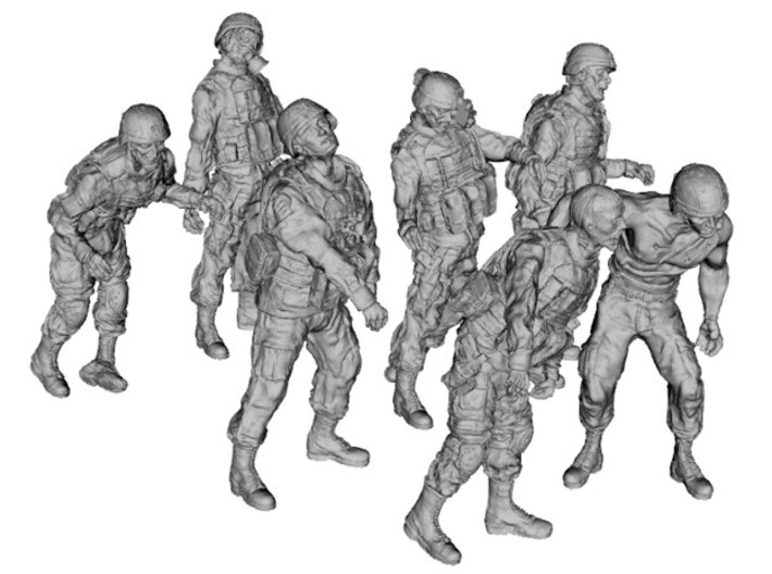 1-56 Seven Military Zombies Set1 3d printed