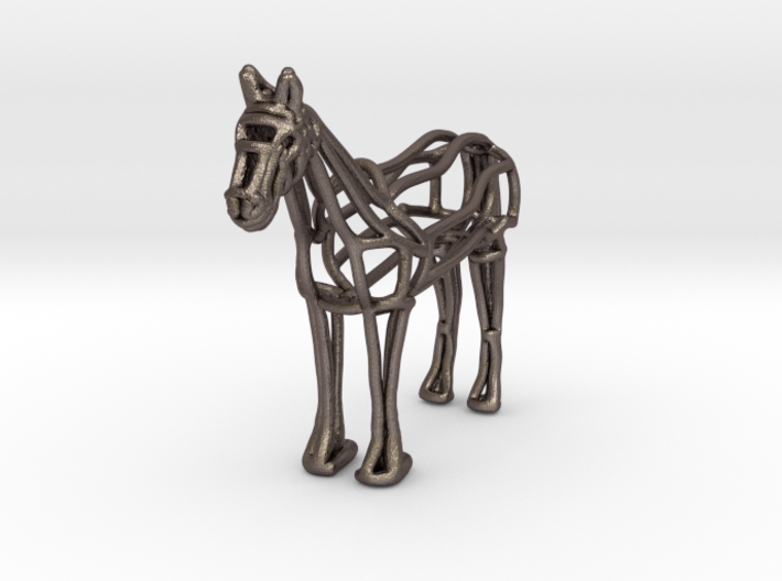 Horse Wireframe keychain 3d printed