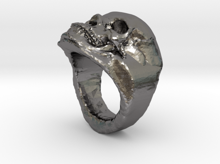 The real Skull Ring (size 9) 3d printed