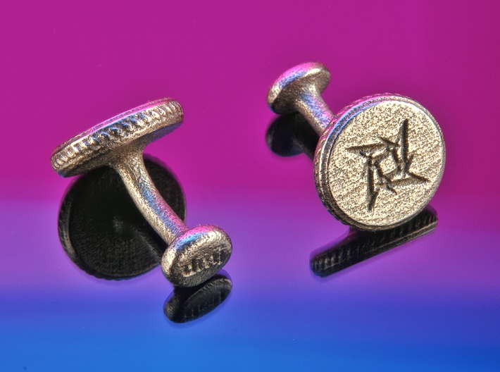 Own logo and initals cufflinks 3d printed Cufflinks printed in Stainless Steel with the Metallica logo and dmj initials