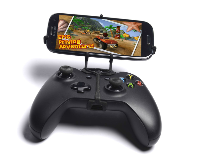 Xbox One controller & HTC One M9+ Supreme Camera - 3d printed Front View - A Samsung Galaxy S3 and a black Xbox One controller
