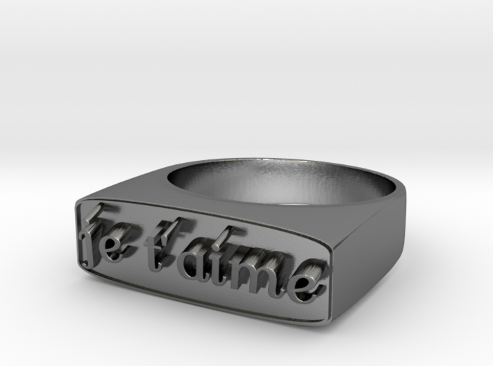 """RING """" Je t'aime """" U.S Size 6 3/4 3d printed"""