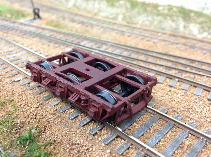 HO scale 6 wheel wood beam passenger truck 2 pairs 3d printed