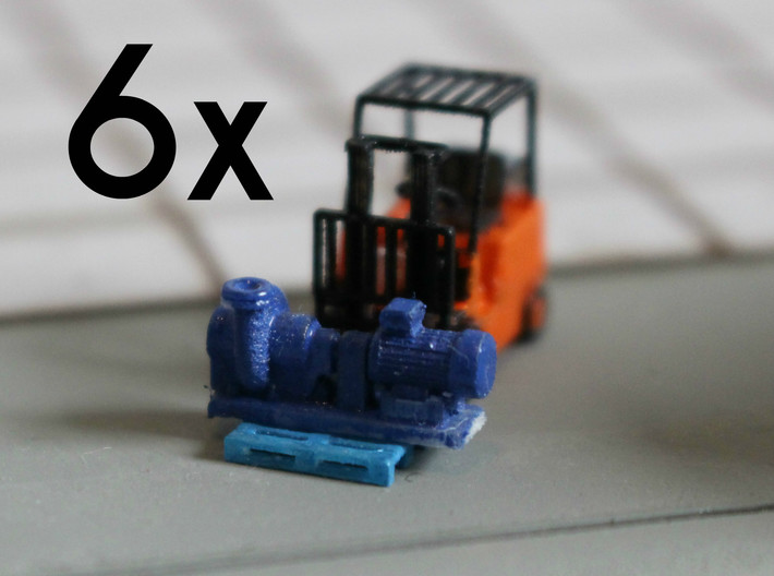 Centrifugal Pump #2 (Size 2 6pc) 3d printed Centrifugal Pump #2 size 2 on an N scale pallet+forklift