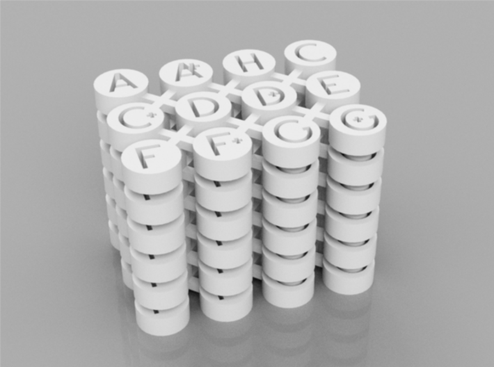 Letter Guitar Dot Inlays 3d printed White Strong & Flexible Render