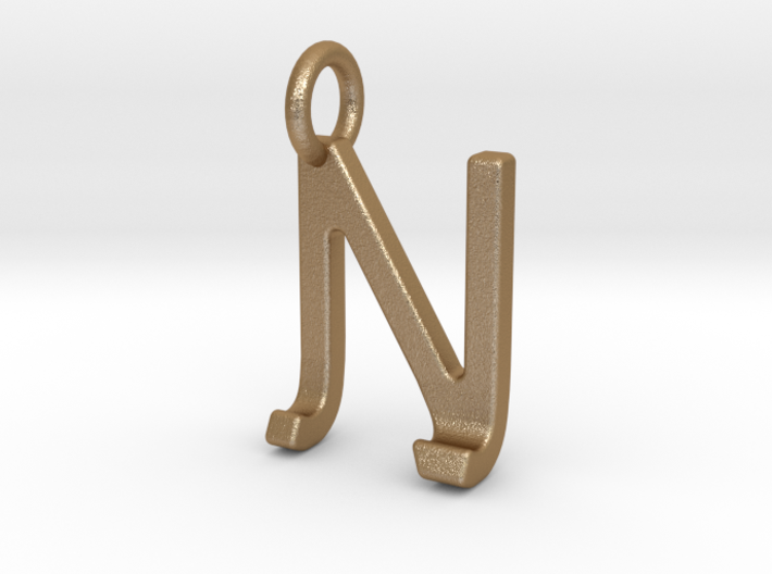 Two way letter pendant - JN NJ 3d printed