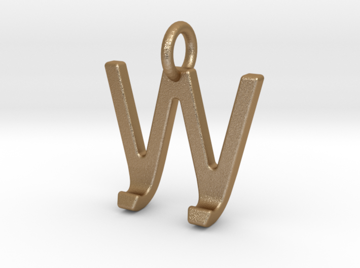 Two way letter pendant - JW WJ 3d printed