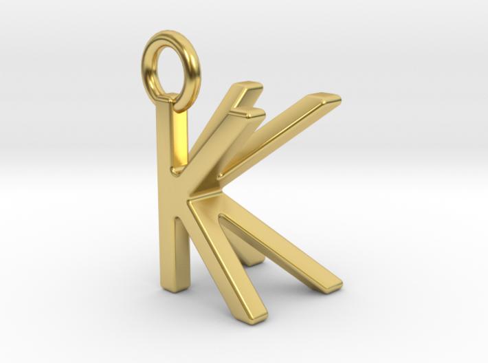 Two way letter pendant - KK K 3d printed