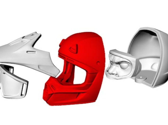 WW10003 Wild Willy Moto Helmet - Front 3d printed Purchase only includes red part. See link below to purchase the complete figure