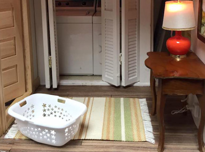 Laundry Basket in 1:12, 1:24 3d printed 1:12 by Miniature Artisan Katy Arland of Simply Sweet Minis used her laundry basket as the key piece of her contemporary hallway and laundry area.