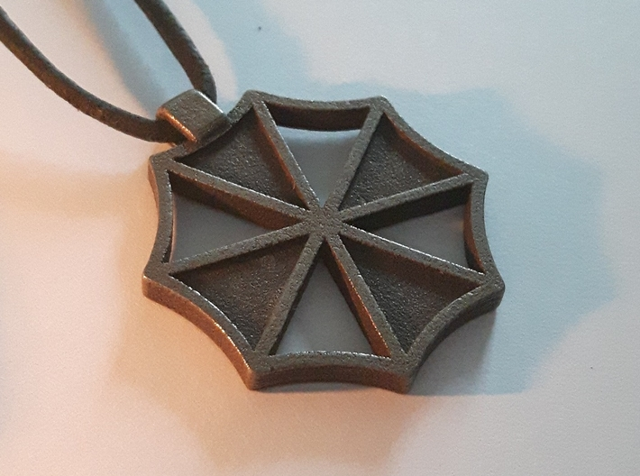 Umbrella Corp Pendant 3d printed Matte Bronze Steel